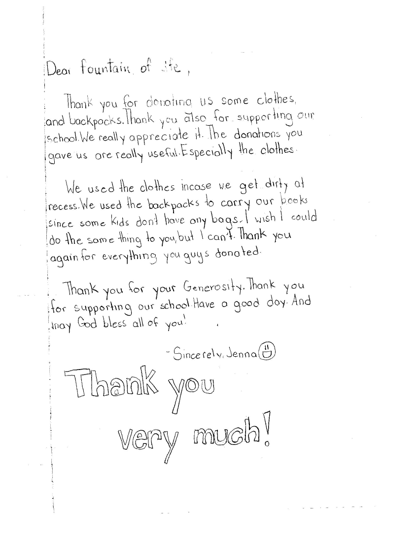 Thank You Letter from Local Students