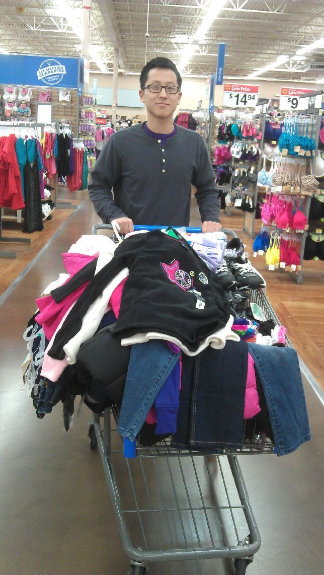Buying clothes to be donated to local students in need