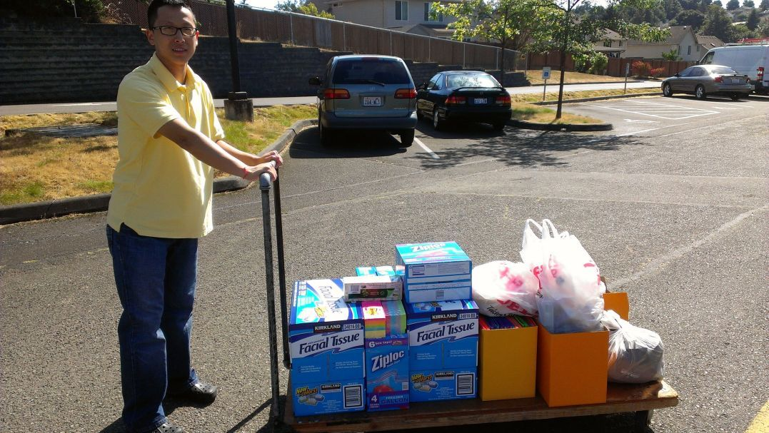 Curtis delivering donated school items
